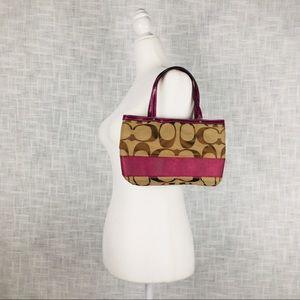 Coach Bags - Coach signature stripe mini tote in khaki/berry